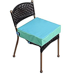 crib bedding and baby bedding toddler booster seat for dining table, double straps washable portable booster seat dining table, increasing cushion for baby kids (blue)