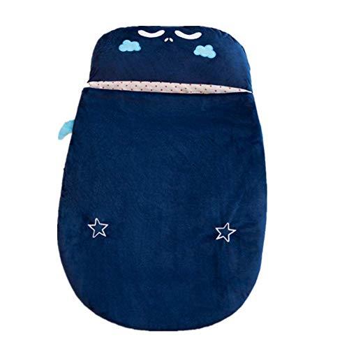 TYPING Saco De Dormir para Bebé Engrosamiento De Otoño E Invierno 0-24 Meses Juguetes De Peluche con Almohada Cierre De Cremallera Fácil Cambio De Pañales,90Cm,Azul