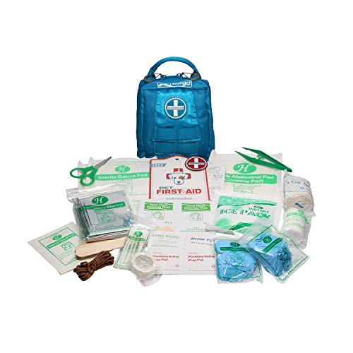 Kurgo RSG Erste Hilfe Set, RSG Hundegeschirr Zubehör, 49-teiliges Erste Hilfe Set Outdoor, MOLLE-kompatibel, RSG-kompatibel, Erste Hilfe Set Hund, Griff, Reißverschluss Kit, blau