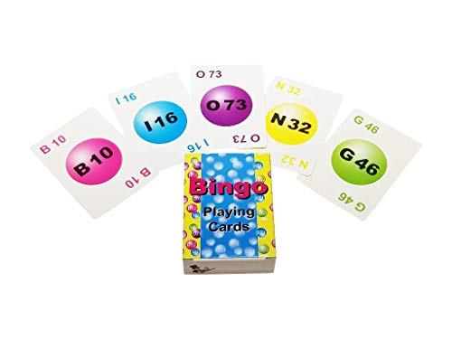 MR CHIPS Professional Plastic Coated Bingo Playing Cards - 75 Deck of Cards - Colorful
