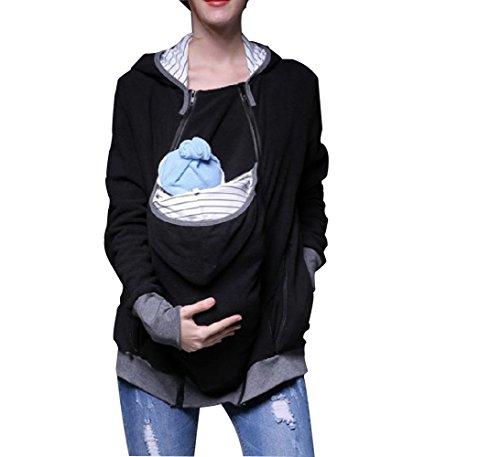 Diudiul Women's Pregnancy Hooded Sweatshirt Tragejacke pullover für Tragetuch Tragepullover für beide (L, Schwarz B)