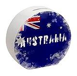 Spardose mit Australien-Flagge im Used Erscheinungsbild - Sparschwein für Urlauber eine schöne Sparbüchse mit der australischen Nationalflagge verziert um auf die Reise nach Australien zu sparen