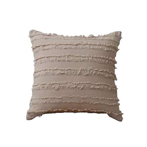 YOKING - Almohada de algodón y lino de estilo bohemio, bonito cojín de pasamanos utilizado en la habitación, el salón, el comedor, la cama, el sofá