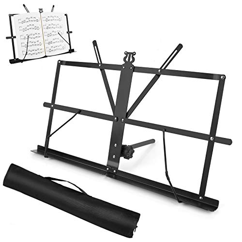 Sheet Music Stand, Table Top Desktop Book Stand Folding Portable Lightweight Adjustable Travel Metal Music Holder with Carrying Bag, by Vangoa