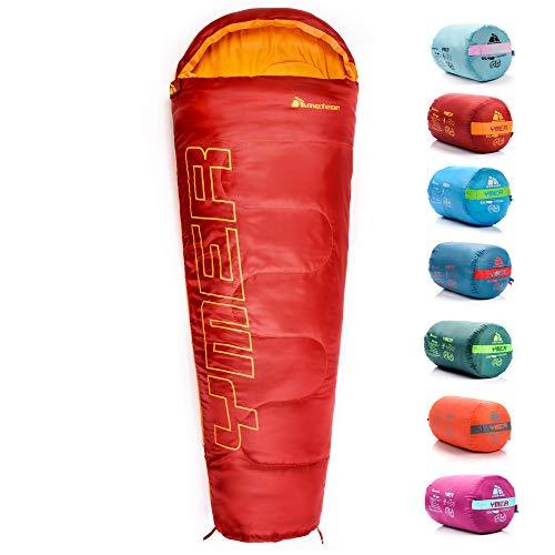 meteor Saco Dormir Tipo Momia con Capucha - Ideal para niños en Viaje Camping Funda vivac Festival Hotel Acampada Senderismo al Aire Libre Portátil con Saco de Compresion (Rojo/Naranja)
