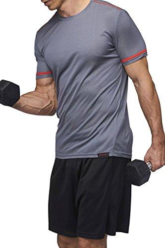Sundried Uomo Training T-Shirt Premium ultimo Allenamento Abbigliamento Fitness (Grey, M)