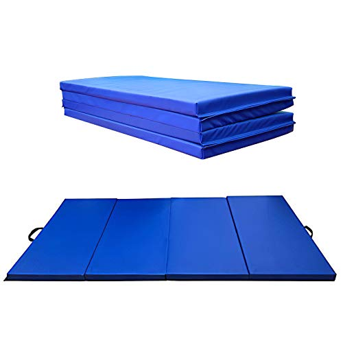 GreenLife Folding Gymnastics Mat with Carrying Handles 120cm (4ft) x 240cm (8ft) x 5cm (2in), Exercise Fitness and Tumbling Mats for Stretching Yoga Cheerleading Martial Arts Taekwondo Blue