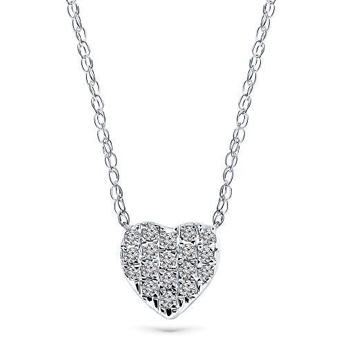 Miore - Collana da donna con ciondolo a forma di cuore, in oro bianco 18 carati e oro 750, con diamante da 0,09 carati, lunghezza 45 cm