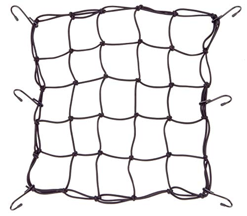 Powertye Mfg 15in x 15in Cargo Net w/Metal Hooks  Premium Latex Bungee 3quotx3quot Mesh RubberTipped SuperStrong Metal Hooks Black