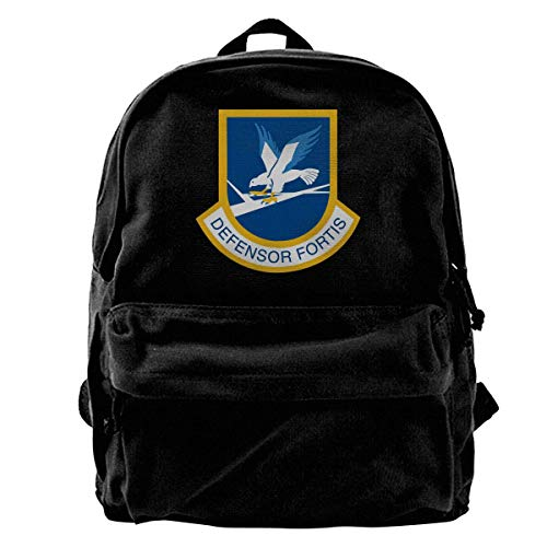 Yuanmeiju Canvas Backpack Defensor Fortis Air Force Security Force Trend Black Canvas Backpack is Suitable for Students to Travel to School