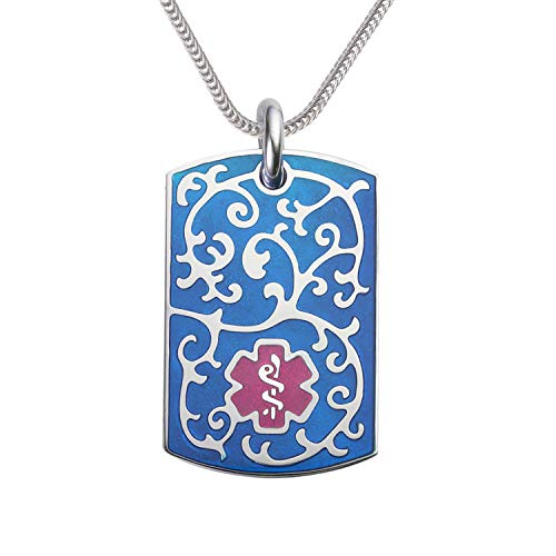 Divoti Deep Custom Laser Engraved Stainless Steel Medical Alert Necklace for Women, Filigree Medical ID Necklace, Medical Dog Tag w/Free Engraving Foxtail Chains 24 in -TP Magenta/TP Blue