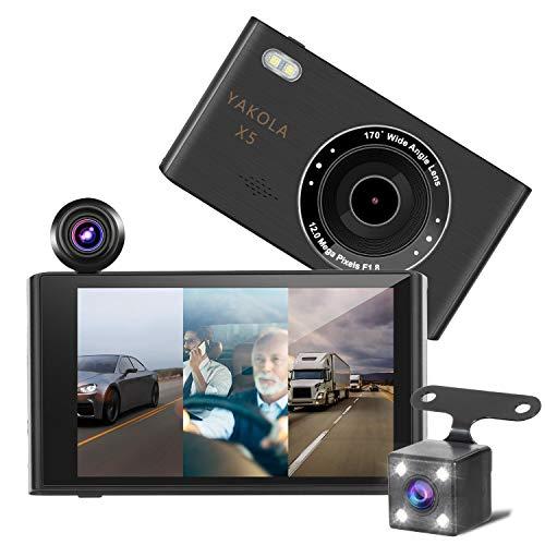 """Yakola X5 (3Lens) Dashcam Rückfahrkamera,Ultra 1080P Full HD, 4,3"""" IPS Touchscreen, Dual LED Nachtsicht, Vorne, hinten, Innere Autokamera, 430°Parküberwachung, Bewegungserkennung, G-Sensor"""