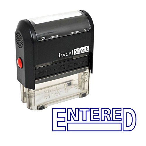 Entered - ExcelMark Self-Inking Rubber Stamp - A1539 Blue Ink