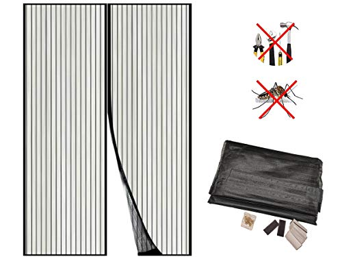 LEDLUX Tenda Zanzariera Magnetica Porta Finestra Nero (120X220cm)