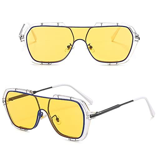 WINFCOY Gafas de Sol Redondas de Moda de Gran tamaño, Gafas de Sol de círculo de Puente Doble para Hombres y Mujeres, Gafas de Sol de protección UV con Marco de Metal Retro (A)