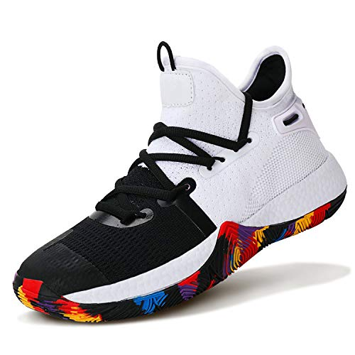 Kids Basketball Shoes Comfortable Sneakers for Boys Breathable Girls Basketball Shoes Non-Slip High Top Shoes for Boys Cushion Boys Basketball Shoes Tennis Shoes Size 4 White