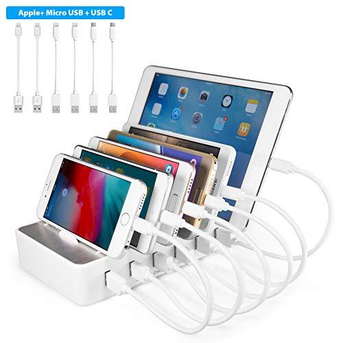 TechDot Handy USB Ladestation Ladestation Mehrere Geräte 6 Port USB Multi Ladestation für Handys Smartphones Tablets (mit 6 Kurze Kabel, Weiß)