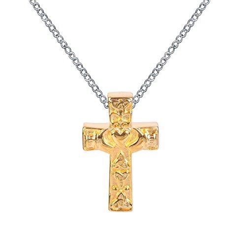 ZARABE Cremation Jewelry Golden Celtic Knot Cross Urn Necklace Memorial Ash Keepsake Pendant