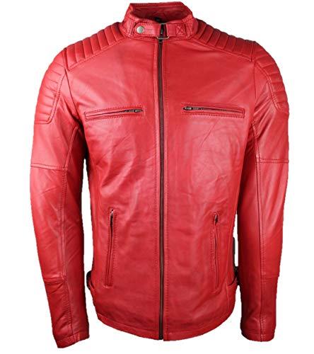 Urban Leather RALPH Gents | Herren Lederjacke | Hochwertige Lammfelljacke für Herren | Rot | S