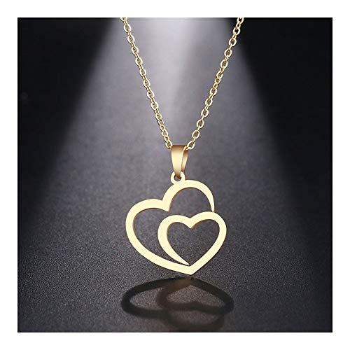 LUOSI Collar de Acero Inoxidable for la joyería de Las Mujeres El Hombre sin Sombra del corazón del Doble Gargantilla Colgante, Collar de Compromiso (Color : Gold Color, Size : 45cm)