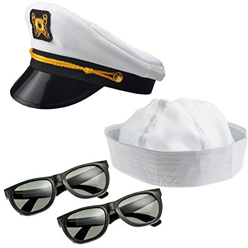 NJ Novelty - Yacht Captain Hat, Boat Sailor Ship Skipper Cap Adult Costume Accessory (Yacht Hat, Sailor Hat & Sunglasses)