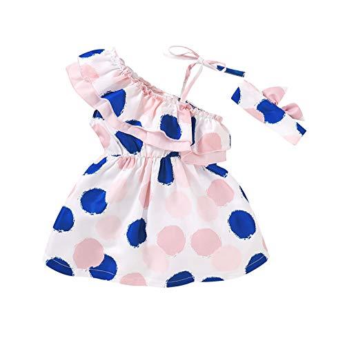 Anaike Vestido de cuello con volantes y lazo para niña, rosa, 2-3 Años