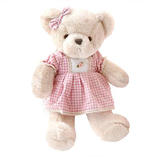Pluche Pop Teddybeer Teddy verkoopt schattige kleding, beerpoppen, meisjes knuffelbeerpoppen, bedpoppen - roze geruite rok prinsesbeer _90cm