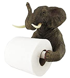 Ebros Pachyderm Servant Safari Elephant Holding Toilet Tissue Paper Holder Figurine Home Decor Great Gift for Savanna Lovers Elephant Fans Excellent Decor for Toilets Powder Rooms