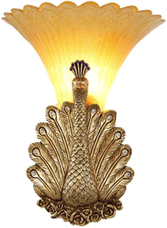 Pfau Wandleuchte Cafe Bar Dekorative Wandleuchte Wohnzimmer Schlafzimmer Nachttischlampen Glas Lampen E27  1