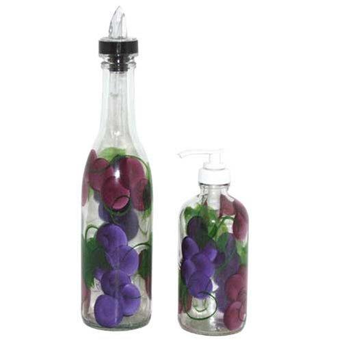 ArtisanStreet Grape Design Pour Bottle & Soap Pump Dispenser Set. Hand Painted