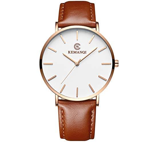 Herren-Armbanduhr, klassisches Design, legere Business-Uhren, minimalistisch, Quarz-Armbanduhr mit Lederband