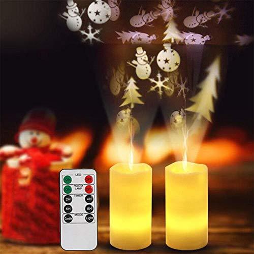 LED romantische Kerze Nachtlicht Simulation Weihnachten Schneeflocke rotierende Projektionslampe mit Fernbedienung, B