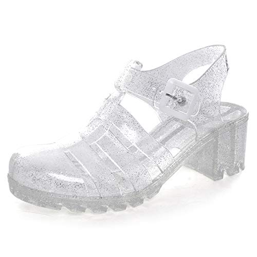 Hee grand Women Crystal Jelly Sandals White US 7.5