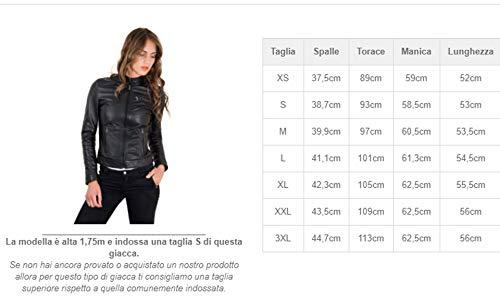 D'Arienzo Giacca in Pelle Donna Nero Giubbotto Biker Giubbino Moto Vera Pelle Made in Italy Giulia