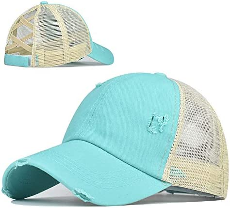 Top Hats for Women Baseball Caps with Mesh Back Trucker Hats Ponytail/High Messy Bun Ponycap Dad Hats (Blue)