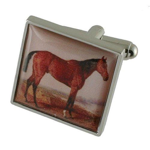 Tela Race caballo pintura Funda Pesada Sólida Plata de Ley 925Gemelos + Caja de regalo Gemelos de mensaje, personalizable