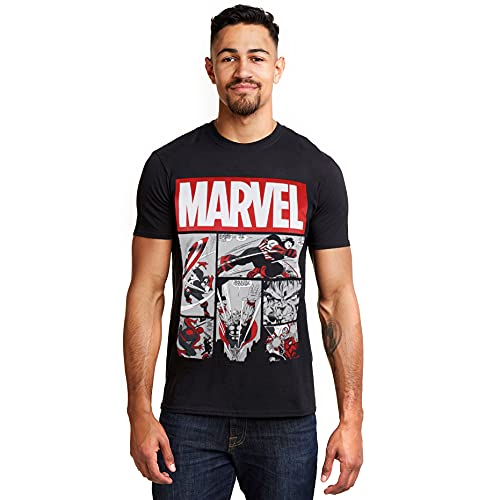 Marvel Heroes Comics Camiseta, Negro (Black Blk), Medium (Talla del