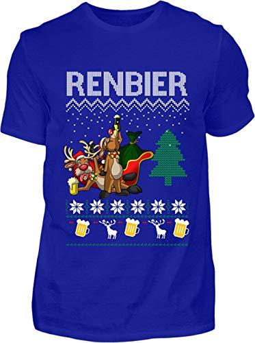 Ugly Christmas T-Shirt Herren Lustig Renbier Ugly Christmas - Kurzarm Shirt Baumwolle mit Motiv Aufdruck - Weihnachten Party Ugly Christmas Fun Saufen Bier (Blau, M)