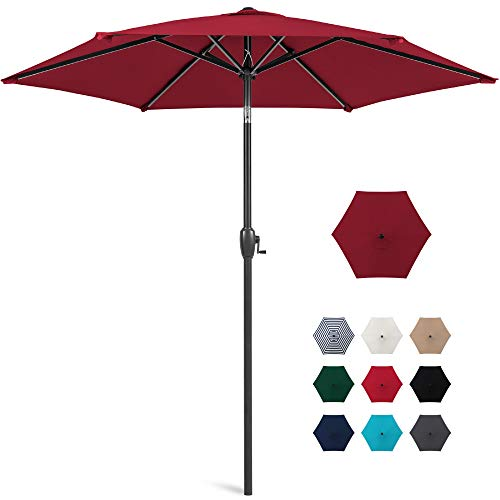 Best Choice Products 7.5ft Heavy-Duty Round Outdoor Market Patio Umbrella w/Steel Pole, Push Button Tilt, Easy Crank Lift - Burgundy