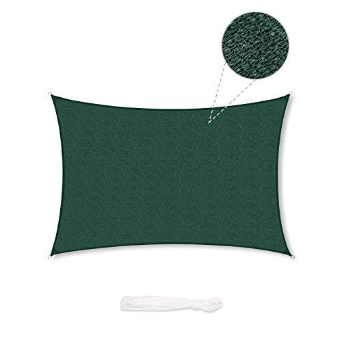 Sekey Sonnensegel Sonnenschutz Rechteckiges HDPE Durchlässig Atmungsaktiv Tear Resistant Wetterschutz UV-Schutz, für Outdoor Garten Terrasse, mit Seilen, 3×5m Grün