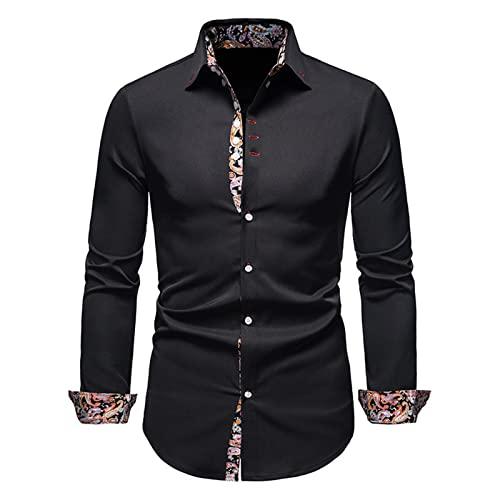 Ocuhiger Camisa De Vestir Clásica A La Moda para Hombre Ajustada Regular Estándar Camisas Formales De Negocios Blusas De Manga Larga con Botones Blusa Estampada Patchwork Negro