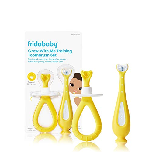 Grow-with-Me Training Toothbrush Set | Infant to Toddler Toothbrush Oral Care for Sensitive Gums by Frida Baby