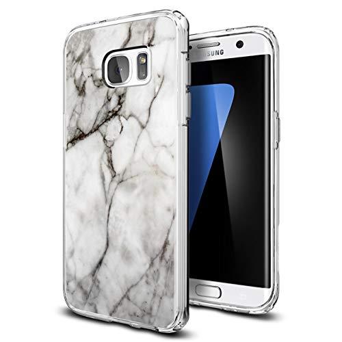 Conie® Handyhülle Rück Schale für Samsung Galaxy S7 Edge, Ultra Slim TPU Hülle aus Silikon mit Bilder Motiv, Kanten Display Kamera Schutz, Motiv Klassisch Marmor Design
