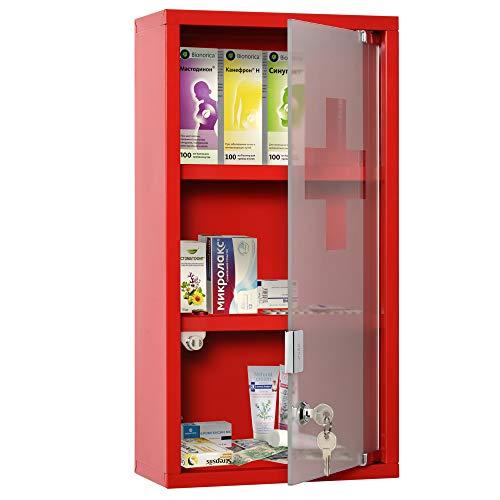 kleankin Medizinschrank Arzneischrank Erste-Hilfe-Schrank mit Schloss 3 Fächer Edelstahl Rot 25 x 12 x 48 cm