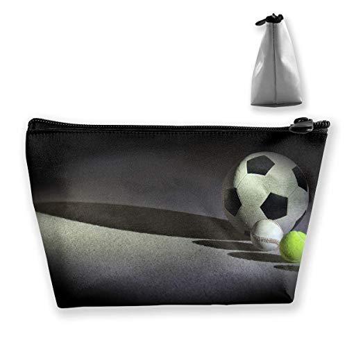Trapezförmige Kosmetiktaschen Make-up Kulturbeutel Tennisball Fußballdruck Reiseaufbewahrungstasche Telefon Geldbörse Tragbar 5046