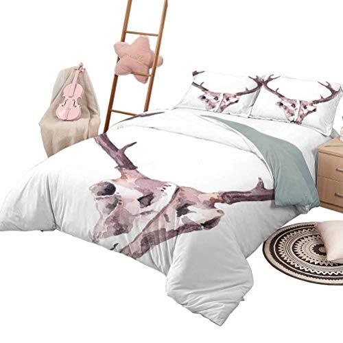 DayDayFun 3 Piece Coverlet Set Antler 3 Piece Bedspreads Coverlet Artistic Abstract Deer Skull Watercolors Bones Skeleton Elk Stag Print King Size Mauve Pale Pink White