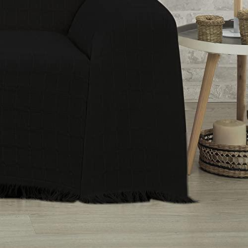DALINA Colcha Multiusos Sofa,Manta Foulard,Plaid para Cama,Cubresofa Cubrecama,jarapas,Comoda Practica y Suave. Poliester Algodón con Bordaje de Guadro Negro,