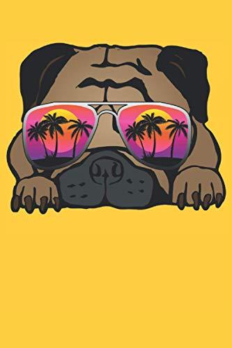 Lustiger Mops mit Sonnenbrille Hund Notizbuch (Taschenbuch DIN A 5 Format Liniert): Niedlicher kleiner Mops Notizbuch, Notizheft, Schreibheft, ... Süßes Hund Motiv für alle Mops Liebhaber.