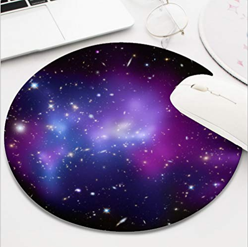 Ydset Purple Galaxy Cluster Space Custom Mouse Pad Waterproof Material Non-Slip Rubber Round Mouse Pad(7.8x7.8x0.08inch) for Office Desktop or Gaming Mouse Mat Keyboard Pad