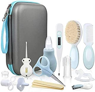 Lictin Baby Grooming Kit Newborn Care - 15PCS Baby Health Care Set Portable Baby Thermometer Kit, Safety Cutter Baby Nail Kit for Nursing Baby Girl Boys Heath and Grooming (Blue)